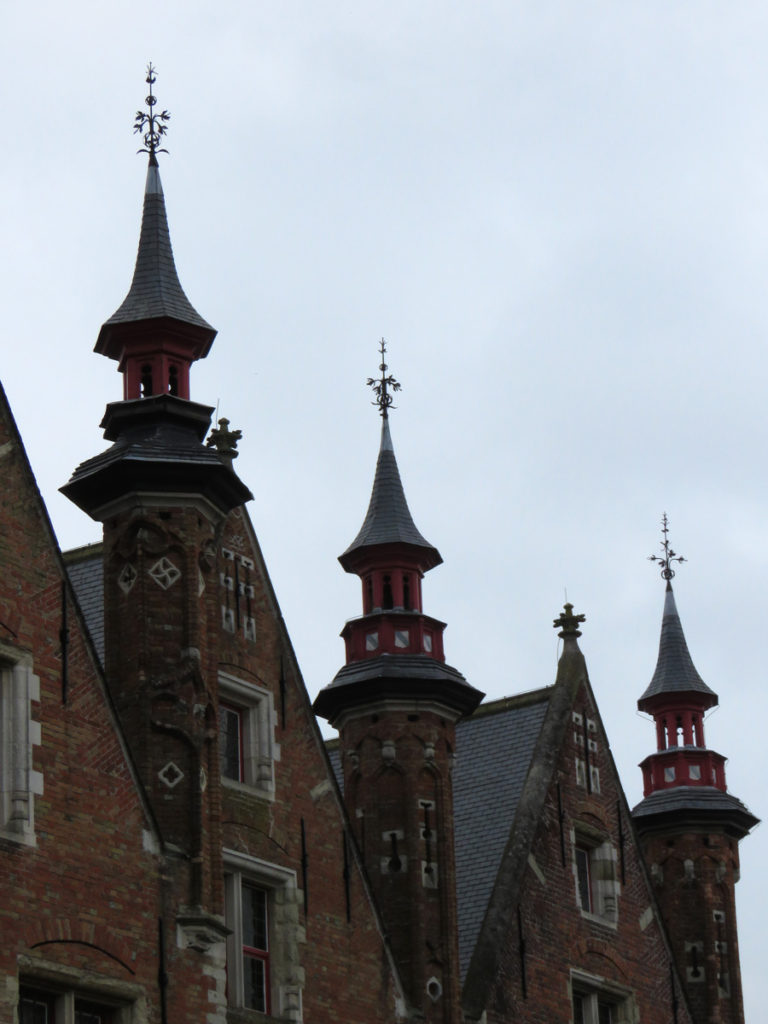 Ornate towers in Bruges.