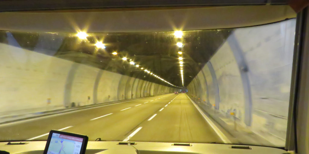 This tunnel isn't as snazzy as some of the tunnels we've been through in other European countries.