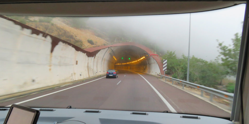 The cloud was so low it was entering the tunnel.