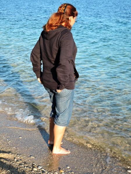 Paddling in the sea at L'Albir - Spain