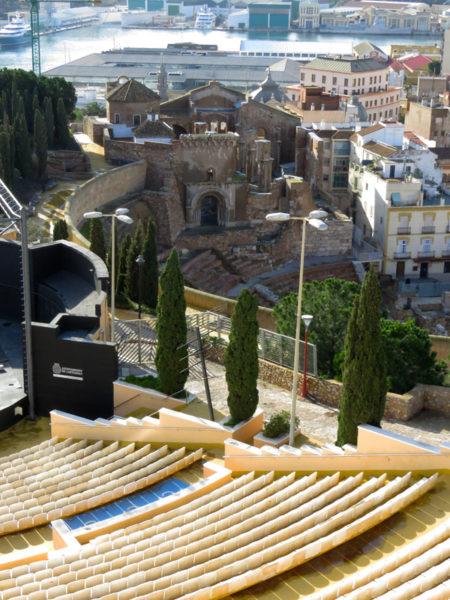 View across modern day amphitheatre to Roman Theatre.