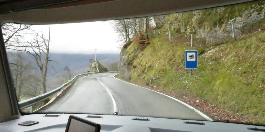 Yet another sharp bend in the road, is that a memorial to all the people who haven't quite made it round the corner!
