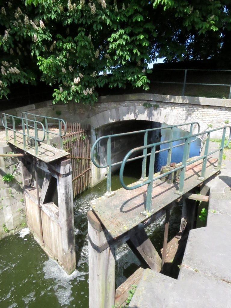 Lock gates beside the ancient abattoir.