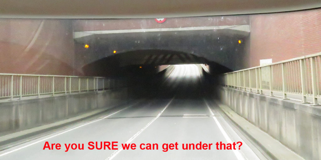 and squeezing under a low bridge..........
