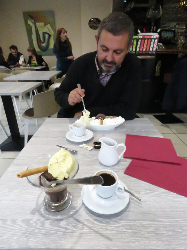 You scream, I scream, we all scream for ice cream!  Except Darren who is too busy eating it. Cafe De La Poste, Bergues.
