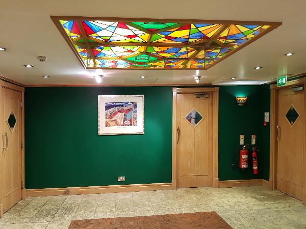 Trenchers Restaurant, beautiful glass art deco ceiling.